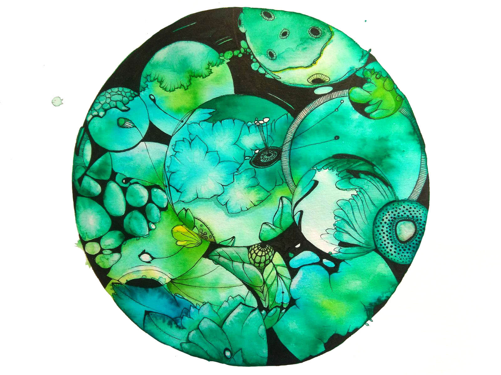 Microorganismos. Aquarela y tinta